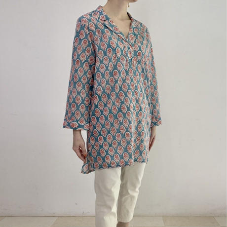 Sanganer Block Printed Pauline Tunic Blouse (Lilly)