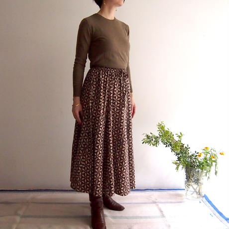 Hand Block Printed Mermaid Skirt ( Asanoha Bordeaux )