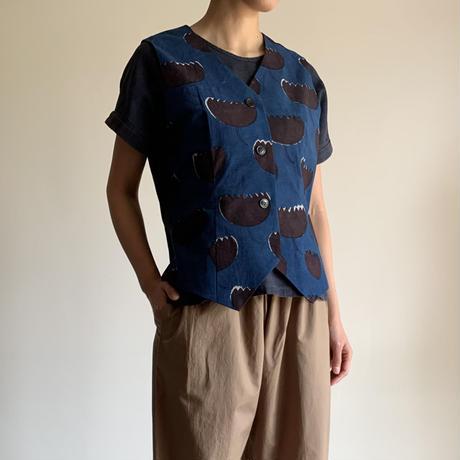 Hand Block Printed Classic Vest (Indigo  Lotus)
