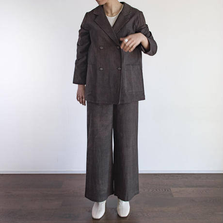Hand Block Printed W Tailored Jacket (Brown Check)