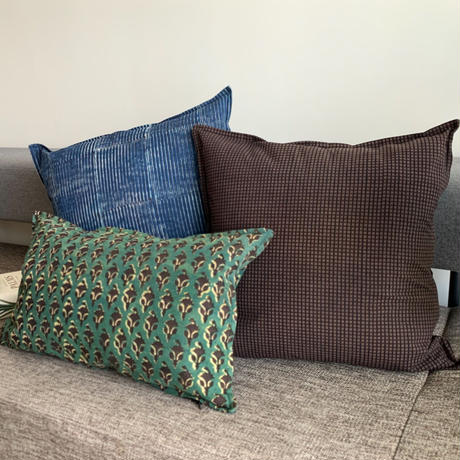 Hand Block Printed Cushion Cover 45*45 (Brown Check)