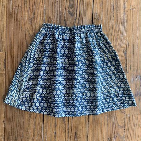 Hand Block Print Skirt #5 (Blue×Yellow Small Buta)