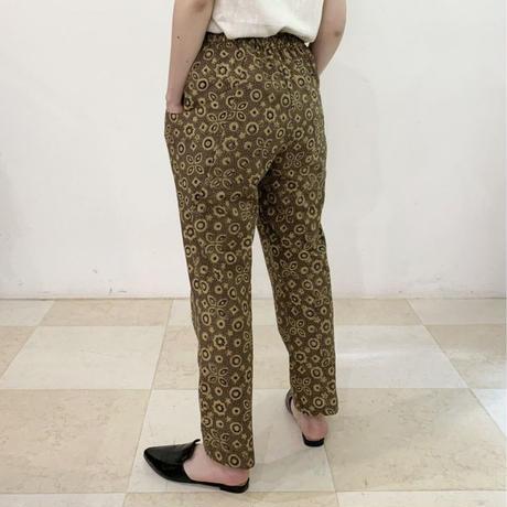 Hand Block Printed Pleated Tapered Pants (Beige Ajrakh)