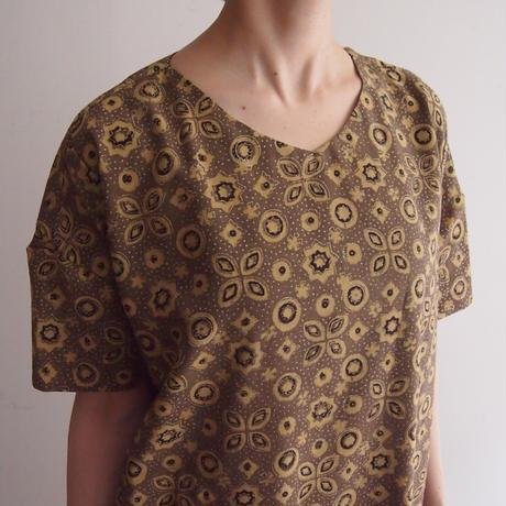Hand Block Printed Comfy Dress ( Yellow Ajrakh )