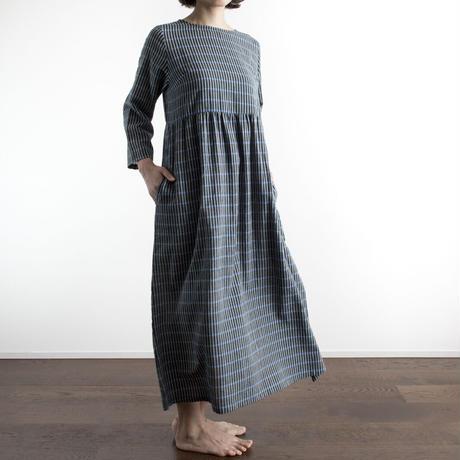 Khadi Cotton Dolly Maxi Dress (Black Small Stripe)