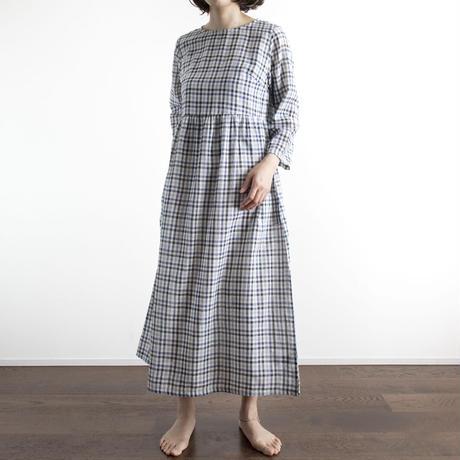 Khadi Cotton Dolly Maxi Dress (Black and Blue Check)