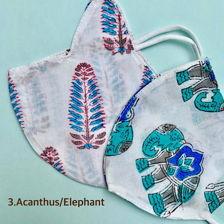 Hand Block Printed Face Mask for Kids