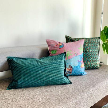 Hand Block Printed Cushion Cover 30*50 (Green Check)