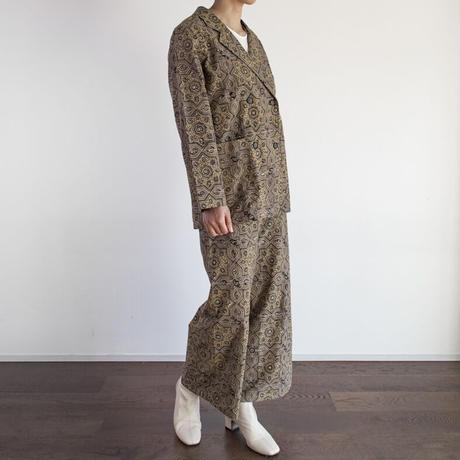 Hand Block Printed W Tailored Jacket (Ajrakh Beige Star)