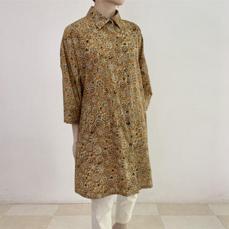 [One of a Kind] Hand Block Printed Tunic Shirt (Kalamkari Flower)