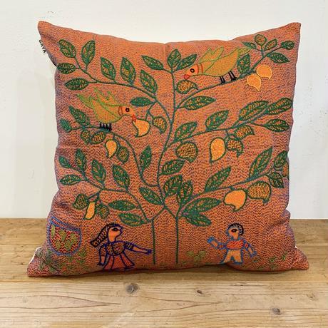 Sujini Cushion Cover 43*43 (Tree of life and lovers) Orange