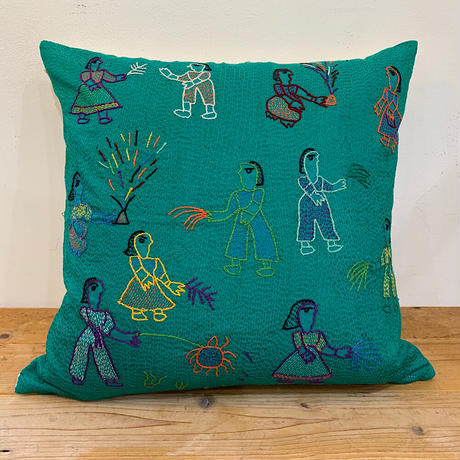 Sujini Cushion Cover 43*43 (Night of Diwali) Blue Green