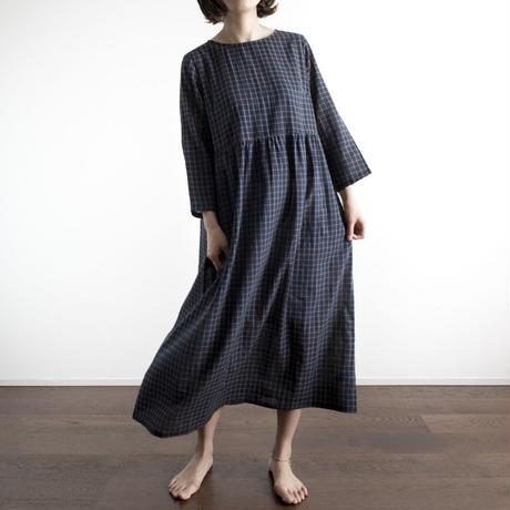 Khadi Cotton Dolly Maxi Dress (Black Check)
