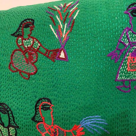 Sujini Cushion Cover 43*43 (Night of Diwali) Green