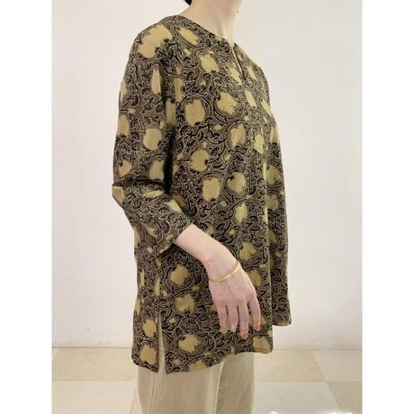 Hand Block Printed Short Kurta (Beige Lotus Arabesque)