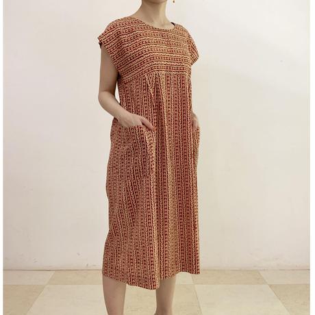 Hand Block Printed Midi Dress (Bagru)