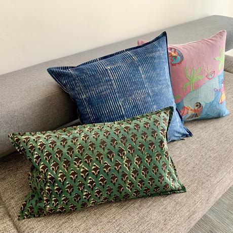 Hand Block Printed Cushion Cover 45*45 (Indigo Stripe)