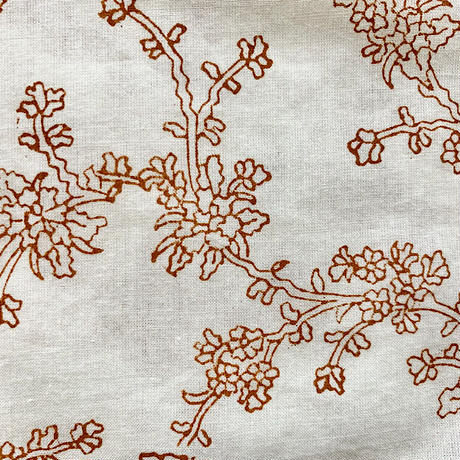 Hand Block Printed Long Shirts Dress (Orange Flower)