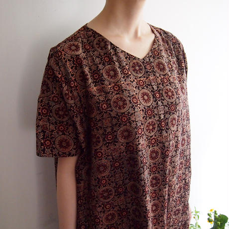 Hand Block Printed Comfy Dress ( Brown Ajrakh )