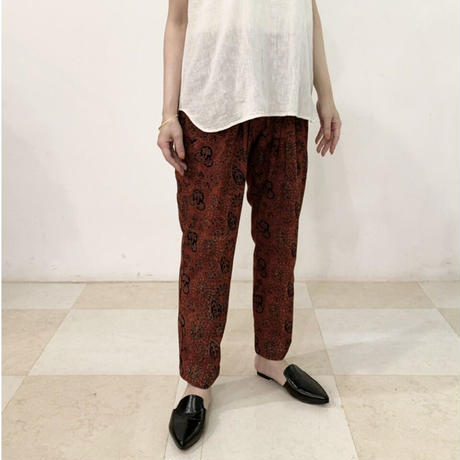 Hand Block Printed Pleated Tapered Pants (Red Botanical)