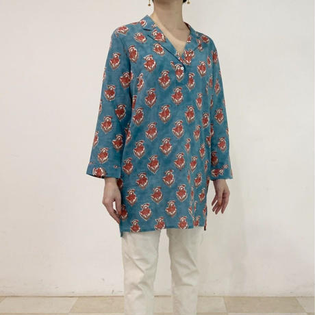 Sanganer Block Printed Pauline Tunic Blouse (Red Lilly)
