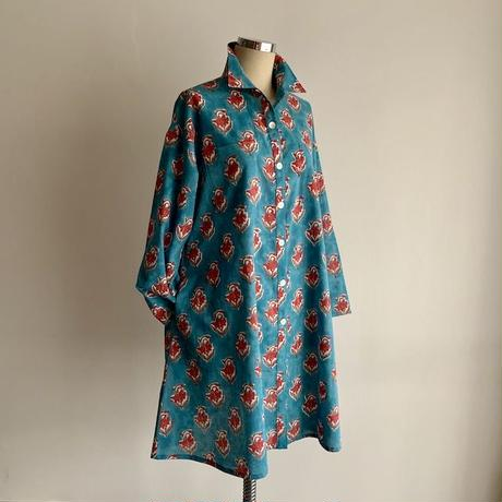 Sanganer Flower Print  A Line Shirt (Red Lilly)