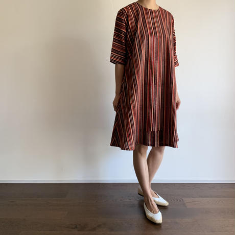 Hand Block Printed AT Dress (Red & Black Stripe)