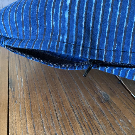 Hand Block Printed Cushion Cover 30*50 (Indigo Stripe)