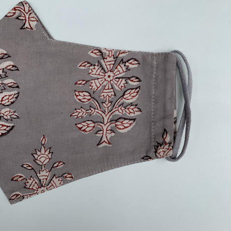 Hand Block Printed Face Mask (Gray Flower)