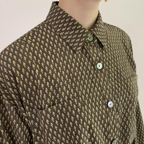 [One of a Kind] Hand Block Printed A Line Shirt (Ajrakh Small Buta)