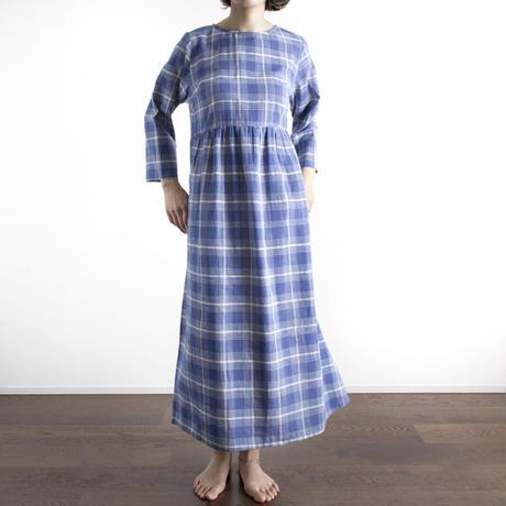 Khadi Cotton Dolly Maxi Dress (Blue Check)