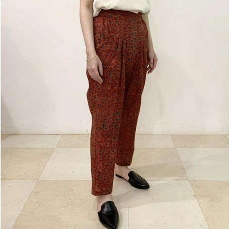 Hand Block Printed Pleated Tapered Pants (Red Ajrakh)