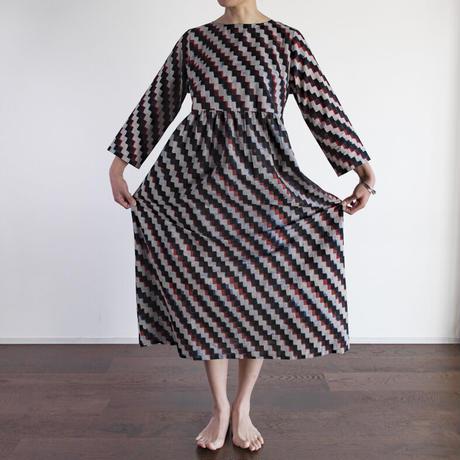 Hand Block Printed Dolly Maxi Dress (Blue Zig-Zag)
