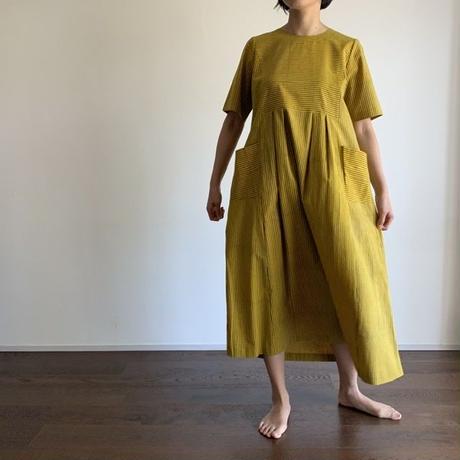 Hand Block Printed Stripe Maxi Dress (Yellow)