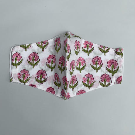 Hand Block Printed Face Mask (Pink Poppy)