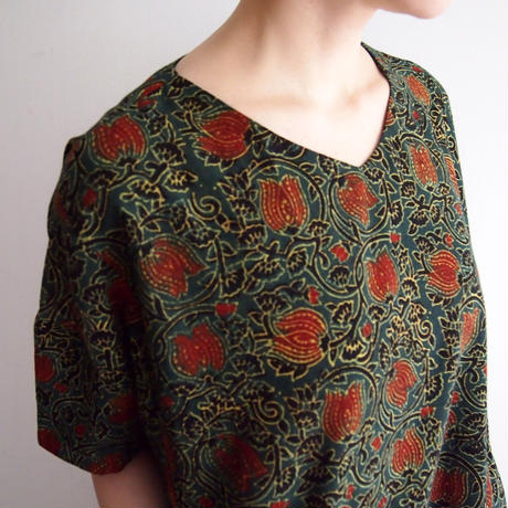 Hand Block Printed Comfy Dress ( Green Lotus Arabesque )