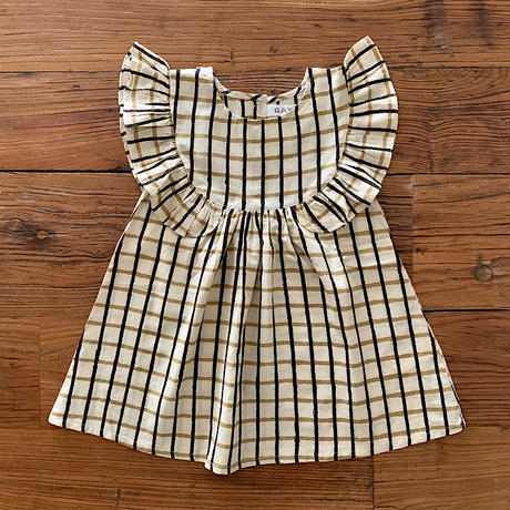 GAYA Renu, Frilly Dress (Black & Yellow Big Check)