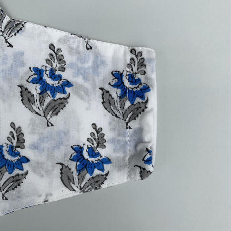 Hand Block Printed Face Mask (Blue Lilly)