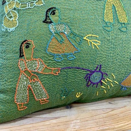 Sujini Cushion Cover 45*45 (Night of Diwali) Moss Green