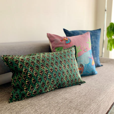 Hand Block Printed Cushion Cover 30*50 (Green & Black Flower)
