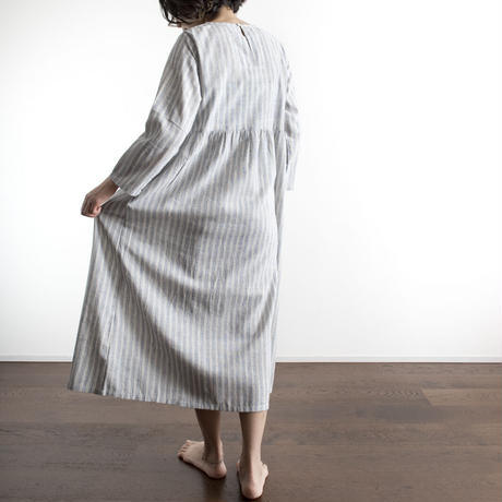 Khadi Cotton Dolly Maxi Dress (Blue Stripe)