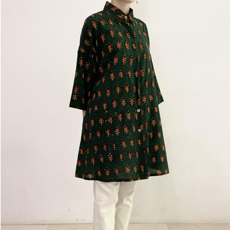 [One of a Kind] Hand Block Printed Tunic Shirt (Balotra Flower)