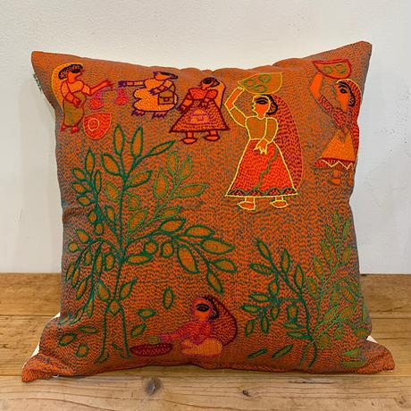 Sujini Cushion Cover 40*40 (Tree of life and market) Orange