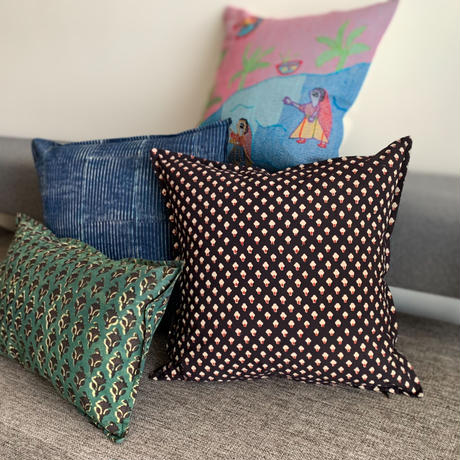 Hand Block Printed Cushion Cover 45*45 (Black Clove)