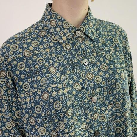 [One of a Kind] Hand Block Printed A Line Shirt (Indigo Ajrakh)