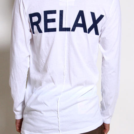 "ALM V-Neck Solid L/S T-shirts ""RELAX"" / WHITE"