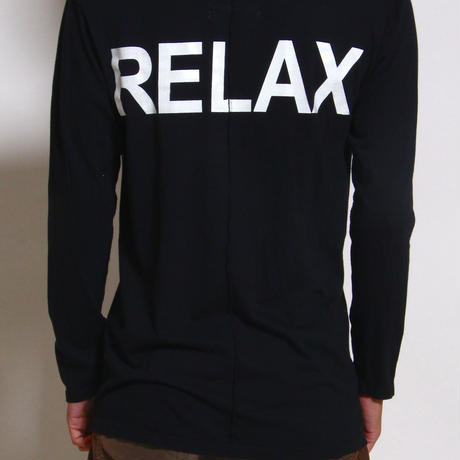 "ALM V-Neck Solid L/S T-shirts ""RELAX"" / BLACK"