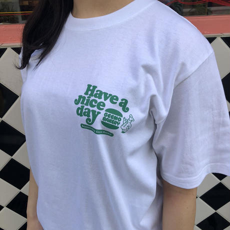 burger T-shirt White×Green