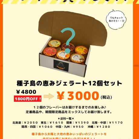 【2セット】1,800円OFF★盛りだくさん!種子島の恵みジェラート12個セット ×2つ