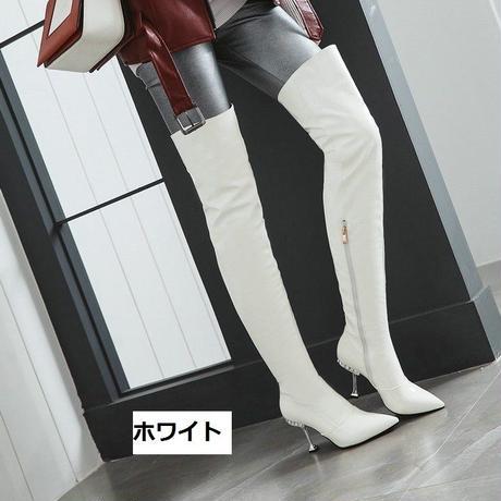 ニーハイ オーバーニー ソフトパテントレザー スーパーロング ブーツ ハイヒール カラー:ホワイト 裏起毛 A1037